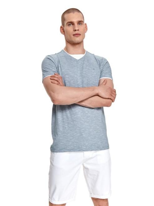 TOP SECRET  t-shirt krótki rękaw męski w paski, gładki SPO5070 Майка туркус оптом