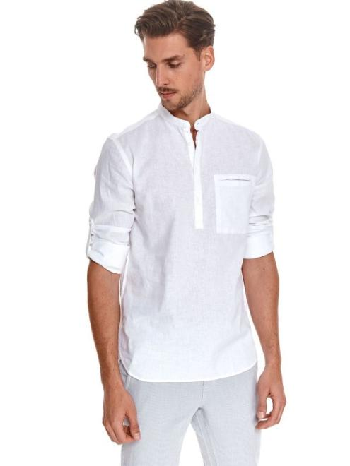 TOP SECRET  koszula z lnem SKL3224 Рубашка Белый оптом
