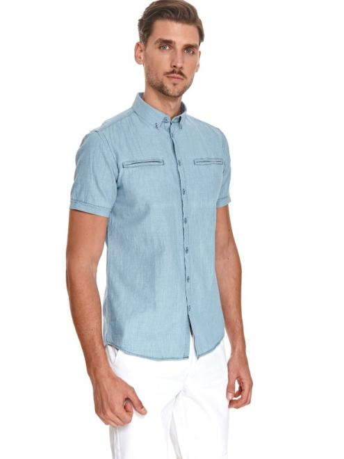 TOP SECRET  koszula krótki rękaw  męska shaped fit SKS1164 Рубашка Голубой оптом