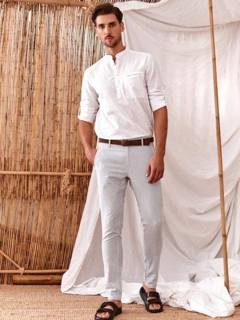 TOP SECRET  spodnie chino z paskiem SSP3802 Брюки Голубой оптом