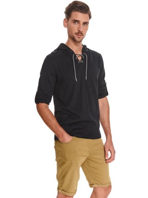 TOP SECRET  Cienka bluza męska z wiązaniem przy dekolcie SBL0948 Блуза Черный оптом