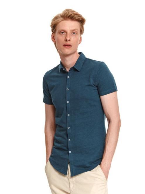 TOP SECRET  koszula ze strukturalnej dzianiny SPO5234 Рубашка Темносиний оптом