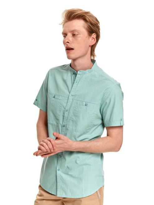 TOP SECRET  Gładka koszula męska z krótkim rękawem SKS1186 Рубашка Мята оптом