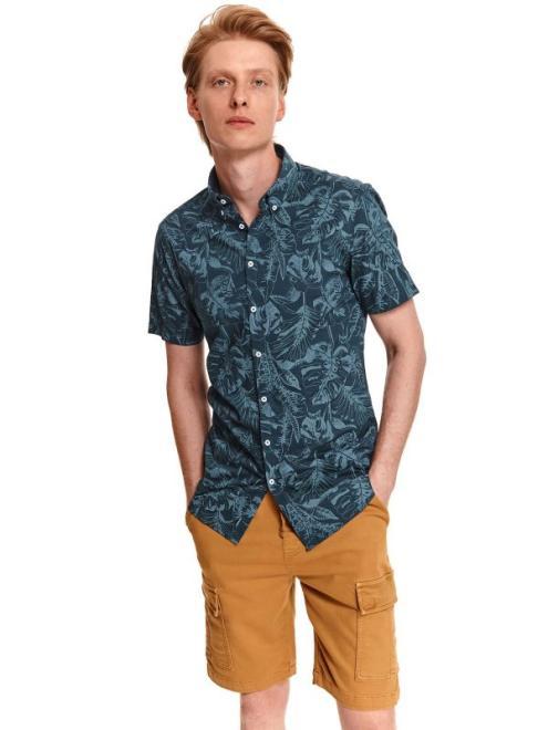 TOP SECRET  Koszula męska z krótkim rękawem w roślinny nadruk SPO5184 Рубашка Темносиний оптом