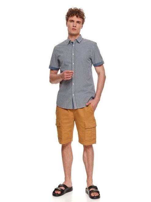 TOP SECRET  koszula męska z w kratkę z krótkim rękawem SKS1174 Рубашка Темносиний оптом