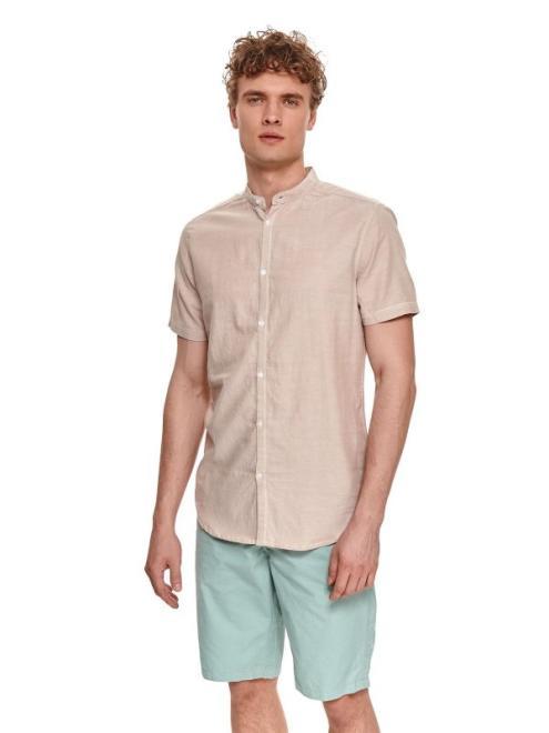 TOP SECRET  koszula z krótkim rękawem z tkaniny oxford SKS1187 Рубашка Бежевый оптом