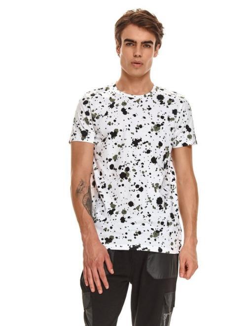 TOP SECRET  T-shirt męski z nadrukiem w plamy SPO5269 Майка Белый оптом