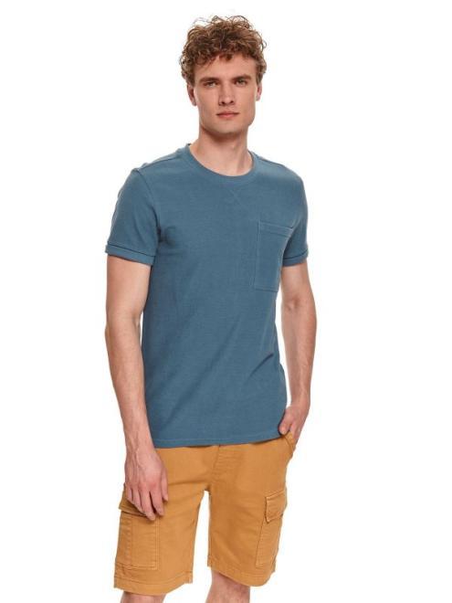 TOP SECRET  T-shirt strukturalnu z kieszonką SPO5126 Майка Голубой оптом