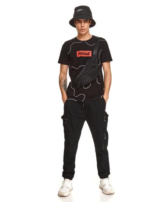 TOP SECRET  t-shirt z nadrukiem SPO5271 Майка Черный оптом