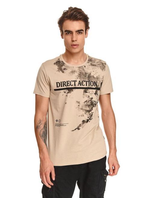 TOP SECRET  t-shirt z nadrukiem SPO5281 Майка Бежевый оптом