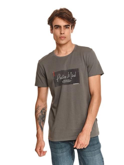 TOP SECRET  t-shirt z nadrukiem SPO5282 Майка Серый оптом
