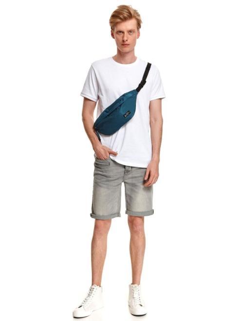 TOP SECRET  t-shirt krótki rękaw męski gładki, z fakturą SPO5128 Майка Белый оптом