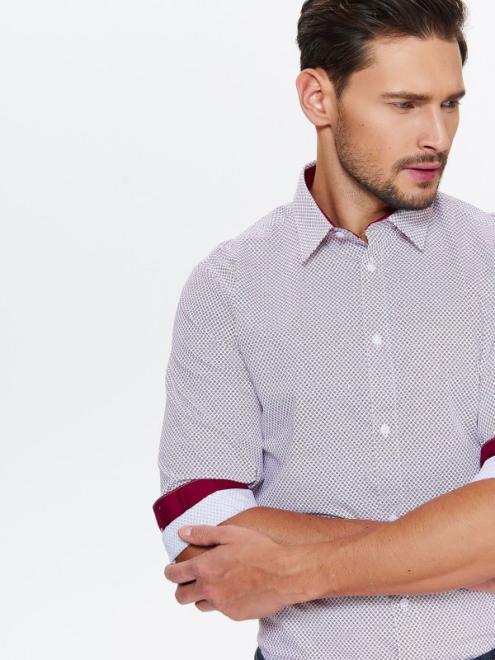 TOP SECRET  koszula męska slim we wzór z kontrastowym wykończeniem z kołnierzem typu kent SKL2462 Рубашка Белый оптом