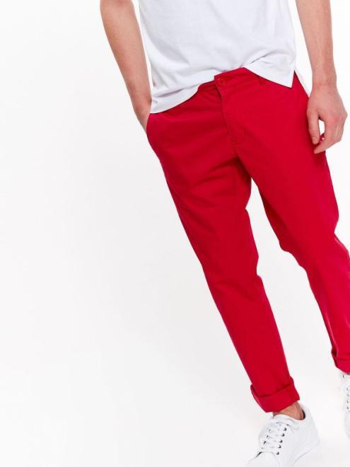 TOP SECRET  spodnie męskie w stylu chino o dopasowanym kroju SSP2806 Брюки Красный оптом