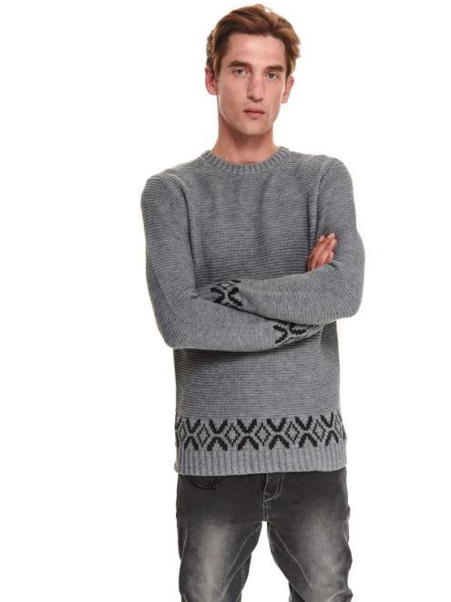 TOP SECRET  sweter z wzorzystym wykończeniem SSW3203 Свитер серый оптом