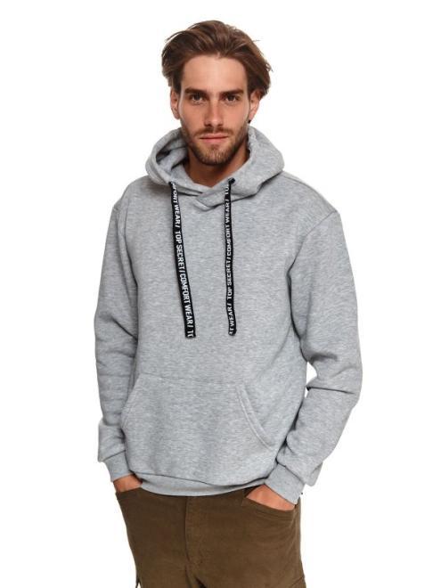 TOP SECRET  bluza kangurka z taśmą SBL1051 Блуза Серый оптом