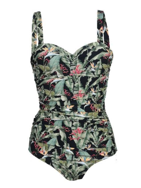 TOP SECRET  jednoczęściowy kostium kąpielowy w egzotyczny wzór SKK0022 Купальник Зеленый оптом