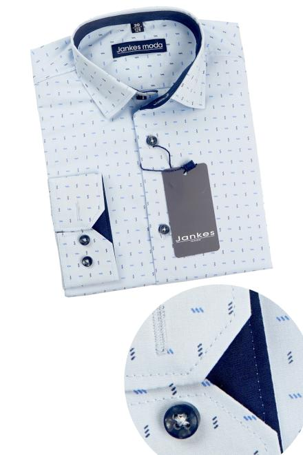 Jankes  06-01 Рубашка голубая-отд.тем.синий оптом
