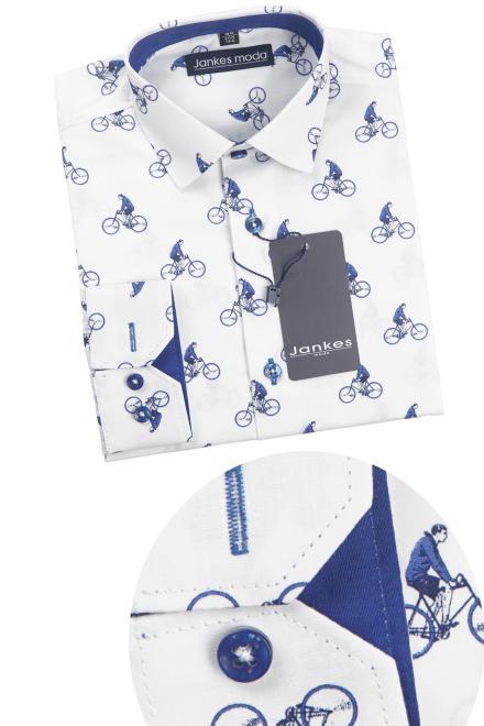 Jankes  06-05 Рубашка белая/велосипедист-отд.шафир оптом