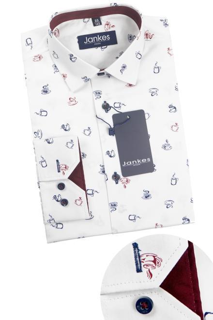 Jankes  06-07 Рубашка белая/крУжки (чашки, бокалы)-отд.бордовый оптом