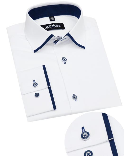 Jankes  06-08 Рубашка белый-отделка тем.синий art.DR0315-02/0814-09 оптом