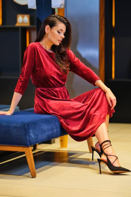 awama  A407 Платье bordo-welur оптом