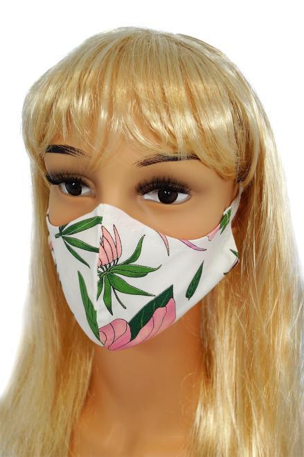 CV010 Maseczki wielorazowe - Różowe kwiaty - bawełna 100% ----//------ 2 szt оптом