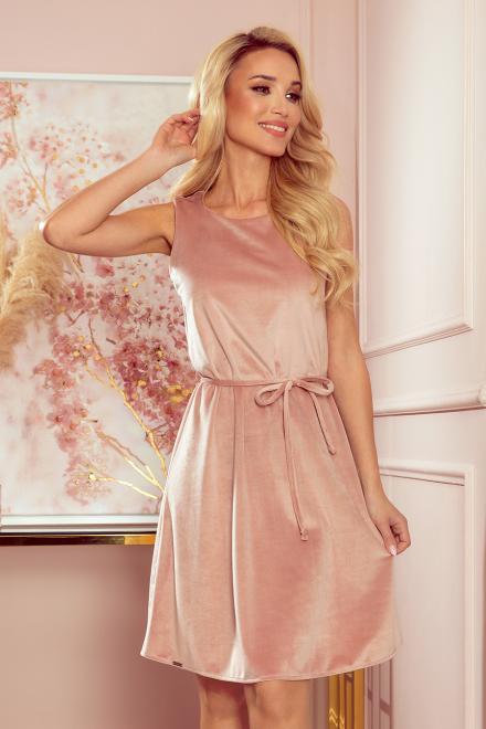 Numoco  296-7 VICTORIA Trapezowa sukienka - WELUR Платье Грязная роза оптом