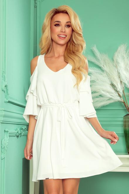 Numoco  292-4 MARINA zwiewna sukienka z dekoltem Платье Экри оптом