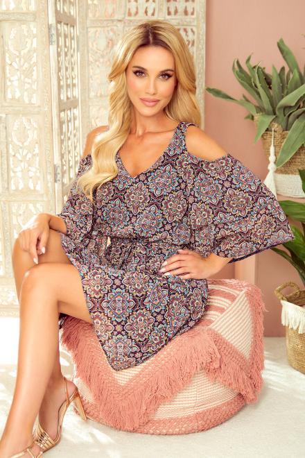 Numoco  292-3 MARINA zwiewna sukienka z dekoltem -  WZÓR MAROKAŃSKI Платье Amarantowy оптом