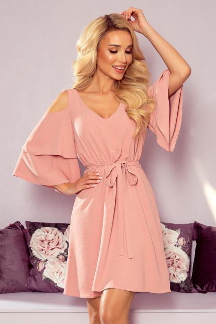 Numoco  292-5 MARINA zwiewna sukienka z dekoltem Платье Розовая пудра оптом