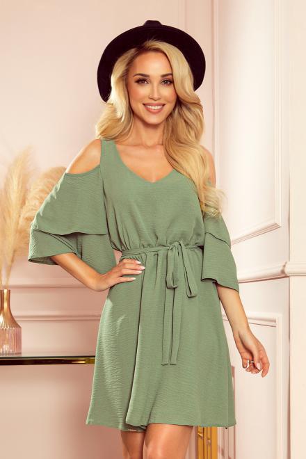 Numoco  292-6 MARINA zwiewna sukienka z dekoltem Платье kolor oliwkowy оптом