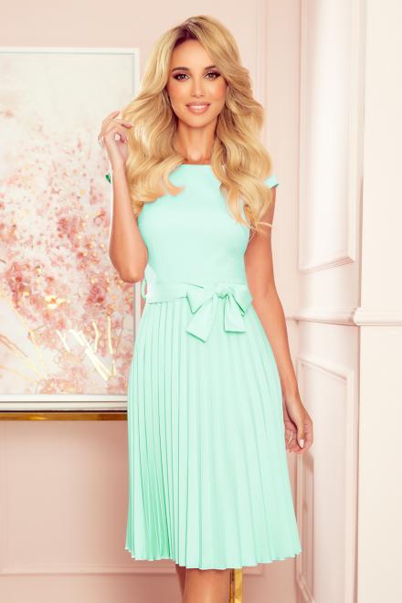 Numoco  311-9 LILA Plisowana sukienka z krótkim rękawkiem Платье Мятный оптом