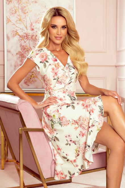 Numoco  349-1 Kopertowa sukienka z falbankami Платье бросквиния цветы оптом