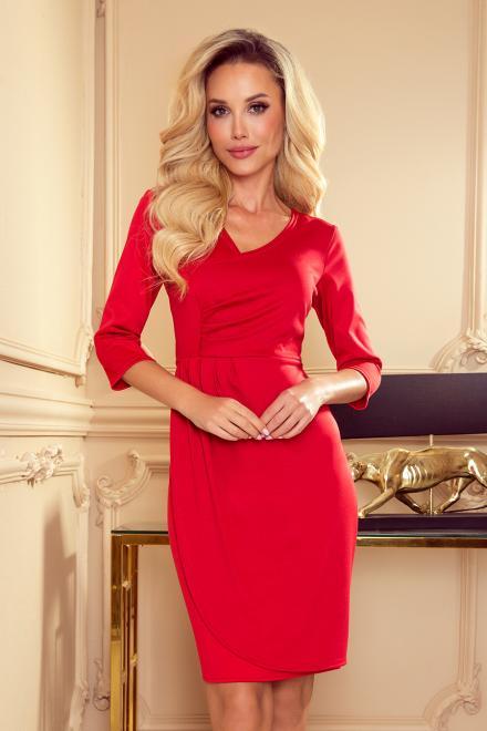 Numoco  255-3 IRIS Sukienka z zakładkami Платье Красный оптом
