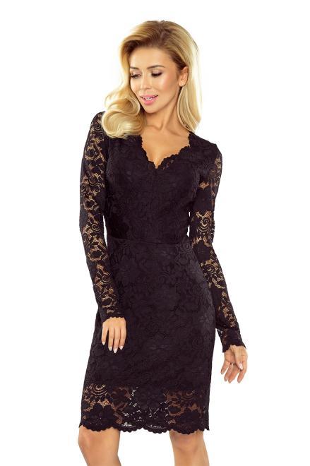 Numoco  170-1 Sukienka koronkowa z długim rękawkiem i DEKOLTEM Платье czarna оптом