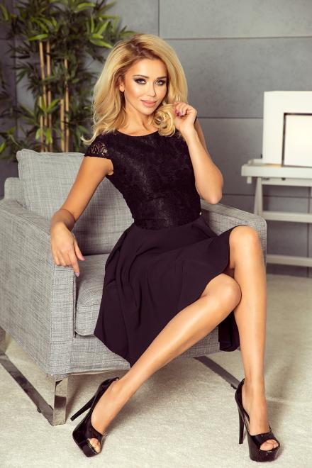 Numoco  157-2 Sukienka rozkloszowana MARTA z koronką Платье czarna оптом