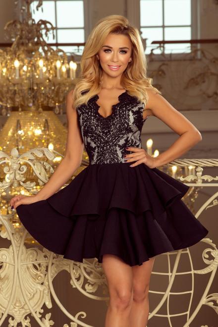 Numoco  200-3 CHARLOTTE - ekskluzywna sukienka z koronkowym dekoltem Платье czarna оптом