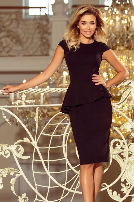 Numoco  192-3 Elegancka sukienka MIDI z baskinką Платье czarna оптом