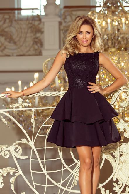 Numoco  206-2 DEVI podwójnie rozkloszowana sukienka z haftowaną górą Платье czarna оптом
