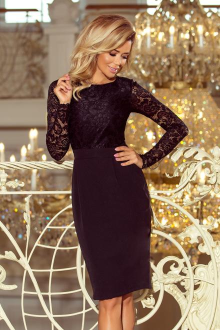 Numoco  216-2 EMMA elegancka ołówkowa sukienka z koronką Платье czarna оптом
