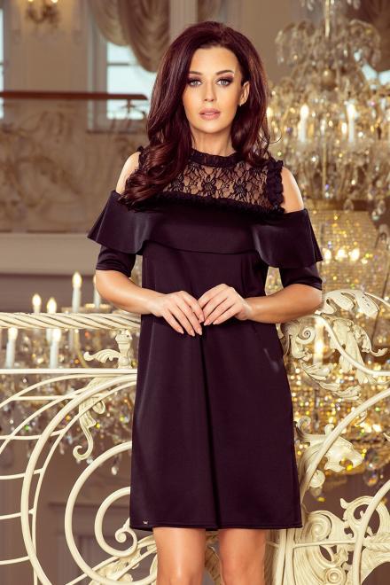 Numoco  247-1 Luźna sukienka z koronką i odkrytymi ramionami Платье czarna оптом