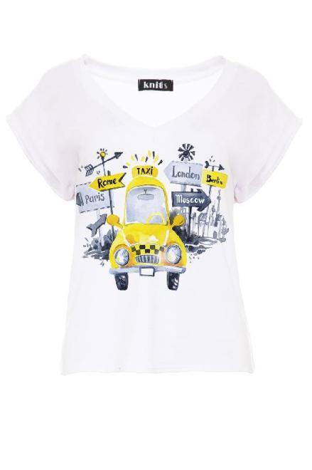 KNITIS  K447 Bluzka Yellow Taxi Белый оптом