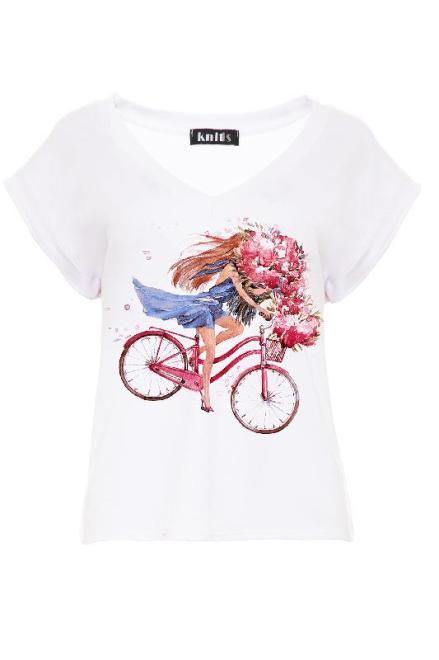 KNITIS  K448 Bluzka Lovely Biker Белый оптом