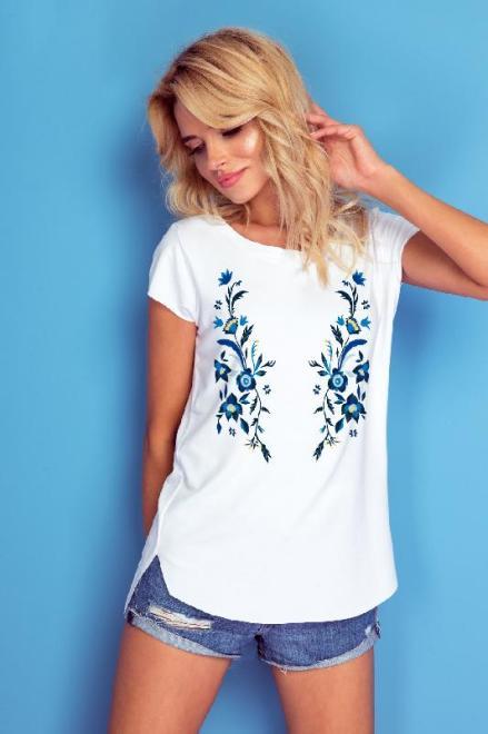 KNITIS  K185 Bluzka z niebieskim wzorem kwiatów Белый оптом