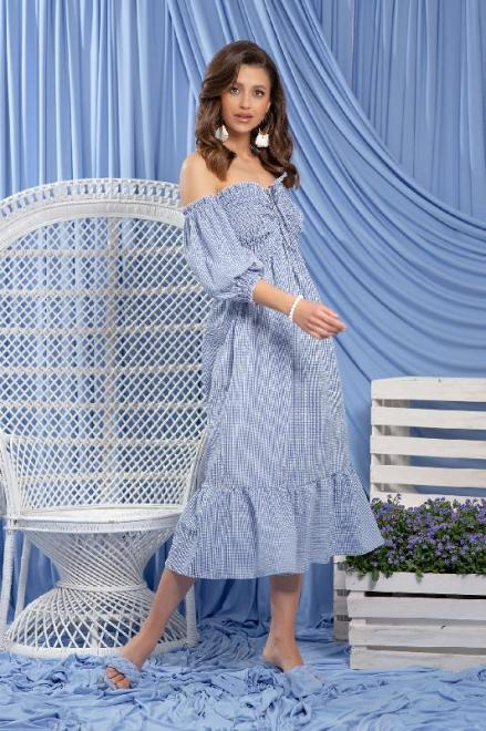 FOBYA  F1233 Платье Голубой оптом