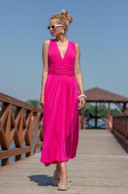 FOBYA  F1252 Sukienka maxi Розовый яркий оптом