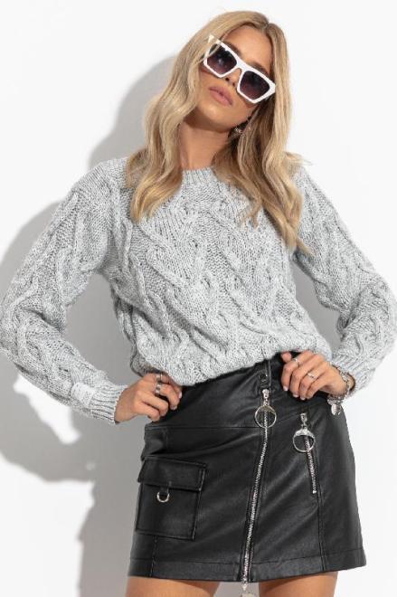 FOBYA  F1285 свитер серый оптом
