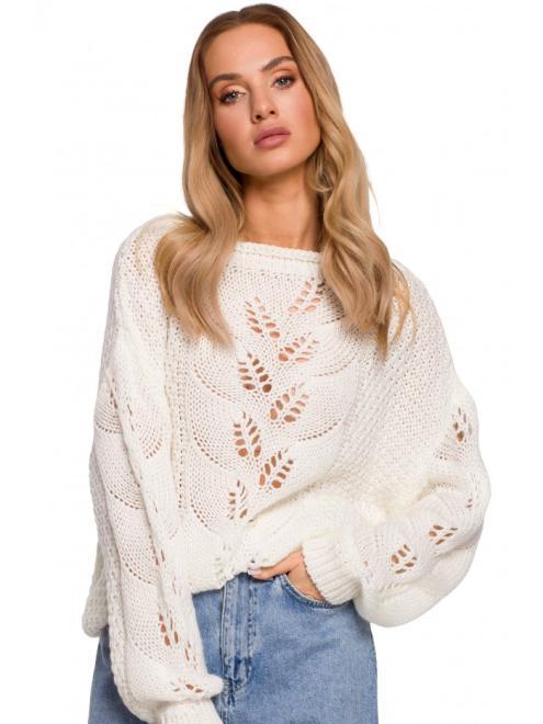 MOE  M600 Sweter Z Ażurowym Wzorem Экри оптом