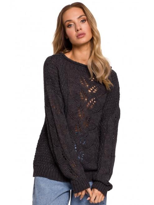 MOE  M600 Sweter Z Ażurowym Wzorem Графит оптом